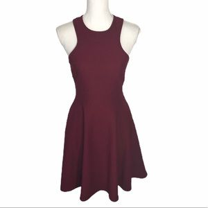 Lulu's Red Wine Textured Waffle Fit & Flare Dress